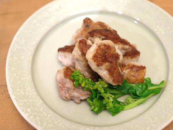 薄切り豚肉の握りソテー